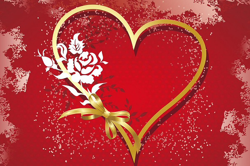 gold-heart-on-red-background